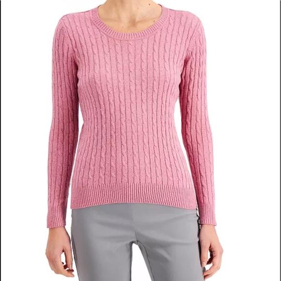 Mauve Cable Knit Crew Neck Sweater